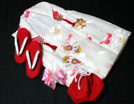 七五三着物 女児三歳用被布セット正絹 初節句 新品ht1706