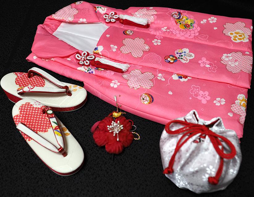 七五三着物 女児三歳用被布セット正絹 初節句 新品ht183
