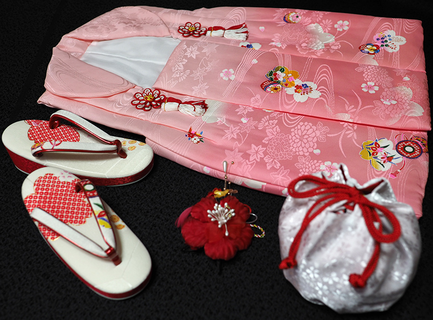七五三着物 女児三歳用被布セット正絹 新品ht194