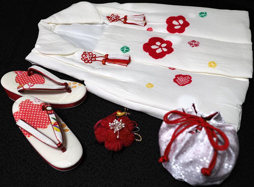 七五三着物 女児三歳用被布セット正絹 初節句 新品ht253