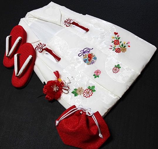 七五三着物 女児三歳用被布セット正絹 初節句 新品ht301