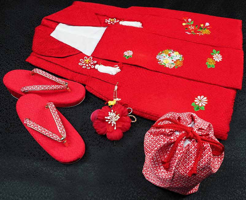 七五三着物 女児三歳用被布セット正絹 初節句 新品ht317