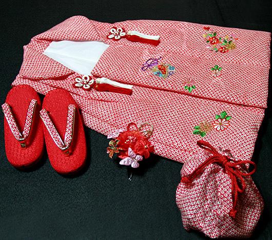七五三着物 女児三歳用被布セット正絹 初節句 新品ht600