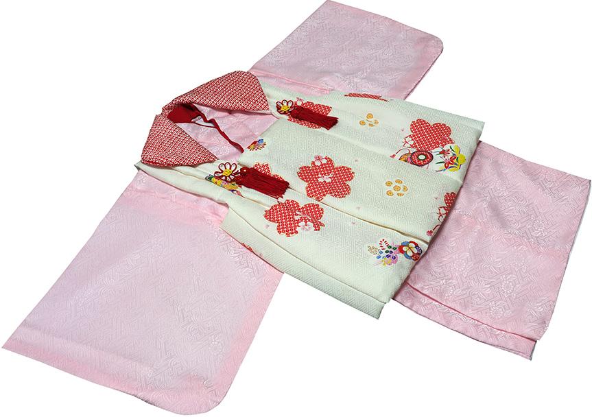 一つ身 女の子 正絹 着物 初着(赤ちゃん、1歳女児着物)71j121