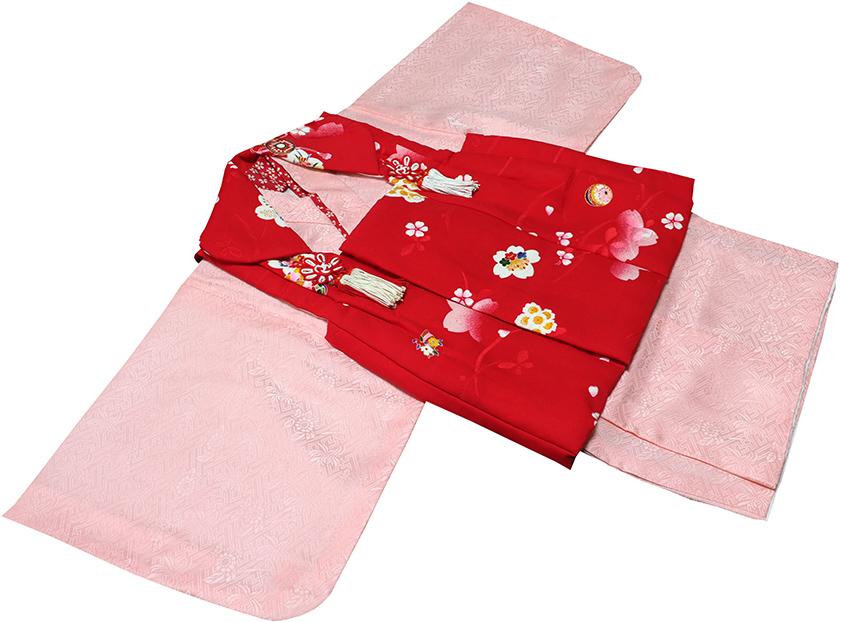 一つ身 女の子 正絹 着物 初着(赤ちゃん、1歳女児着物)71j122