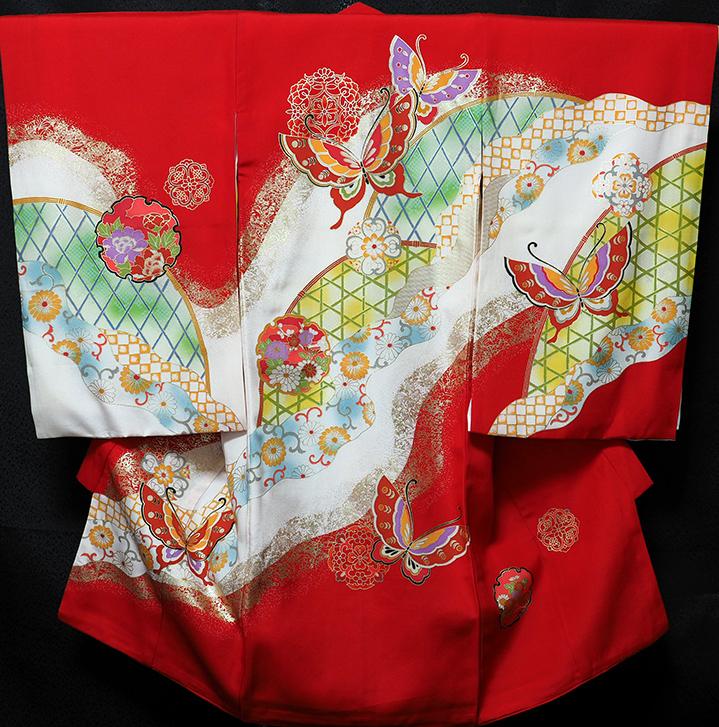 お宮参り 着物 女 女児祝着 正絹 のしめ 初着 産着 新品j1018
