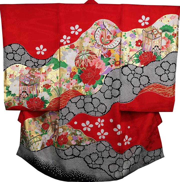 お宮参り 女の子 着物 女児祝着 正絹 のしめ 初着 産着 新品j3102