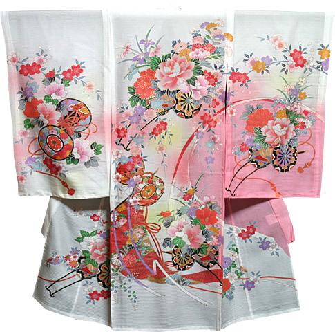 お宮参り 着物 女 女児祝着 絽(夏専用)正絹 のしめ 初着 産着 新品j721