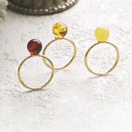 【天然琥珀】リング・指輪 こはくアクセサリー  【ak0614】琥珀【Sランク】【K18・18金】【天然石・パワーストーン】ギフト 贈り物に プレゼントに ジュエリー【送料無料】