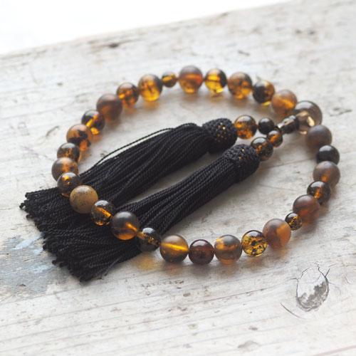 【天然琥珀】永遠の命を意味する琥珀の数珠 ギフト 贈り物に 【jyu008】【4ツ星ランク】 【男性用・女性用】【パワーストーン・天然石】 ジュエリー【送料無料】