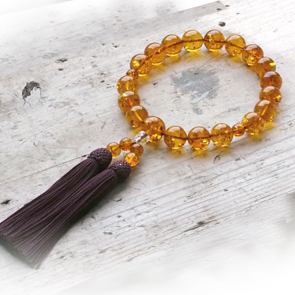 【天然琥珀】永遠の命を意味する琥珀の数珠 ギフト 贈り物に 【jyu003】【Sランク】 【男性用・女性用】【一点もの】【パワーストーン・天然石】 ジュエリー【送料無料】