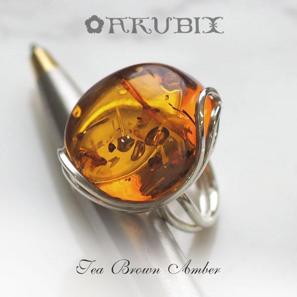 【天然琥珀】1点ものハンドメイド シルバーリング【送料無料】【tr1304】【Sランク】ジュエリー 指輪 アクセサリー 贈り物 天然石 パワーストーン お守り こはく amber Silver925