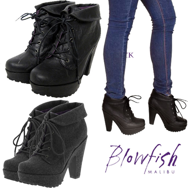 14c6da02e4c It is celebrity habitual use 05P03Dec16 Lady's Blowfish blow fish Vance  race up ankle boots lace-up boots thickness bottom bootie booties