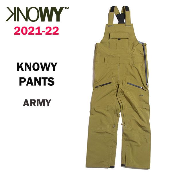 2022 年間定番 KNOWY 奉呈 ノーウェイ スノーボードウェア 正規品 2021-22 送料無料 カラー ARMY ノーウェイパンツ PANTS