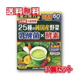 最安値挑戦中 特別送料無料の3個セット 送料無料 日本薬健 定番スタイル 金の青汁 3.5g×60包 バーゲンセール 3個セット 乳酸菌×酵素 25種の純国産野菜
