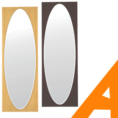 姿見 ミラー 全身 壁掛け 鏡 おしゃれ ウォールミラー 北欧 木製 5mm厚 43幅 ナチュラル ウェンジ オーク 面取り 完成品