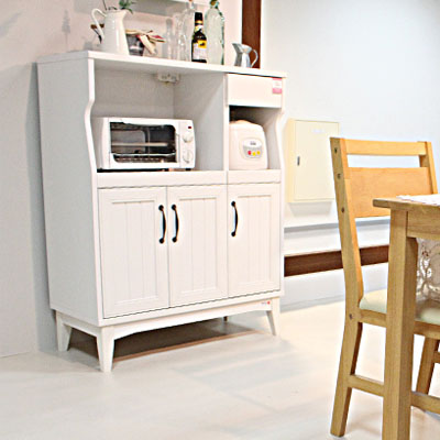 キッチン 収納 レンジ 台 レンジ台 レンジラック レンジワゴン レンジ収納 キッチンカウンター キッチンラック キッチンワゴン キッチン収納 ストッカー ダイニングボード ホワイト 白 シンプル レトロア