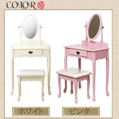ドレッサー デスク 姫系 アンティーク 可愛い 化粧台 コンパクト 鏡 セット 一面鏡ドレッサー&スツール 一面鏡ドレッサー ホワイト ピンク