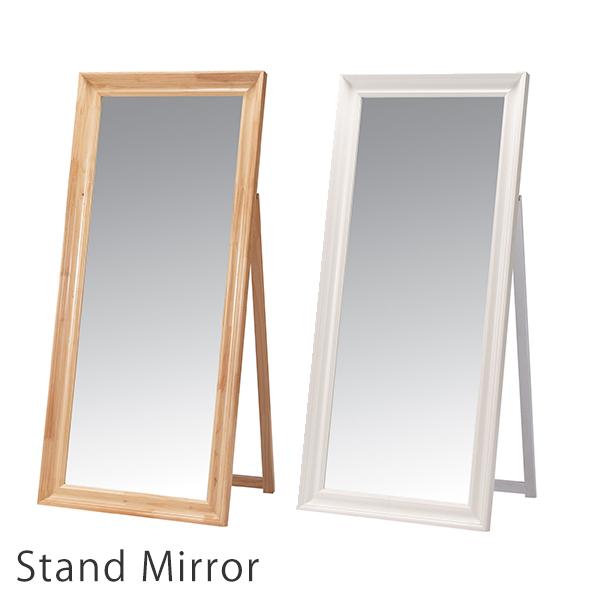 [期間限定ポイント10倍!] 姿見 ミラー 全身 北欧 木製 3mm厚 スタンドミラー 鏡 全身鏡 姿見鏡 ホワイト ナチュラル 完成品 木製スタンドミラー 74幅 ナチュレ 大型 飛散防止