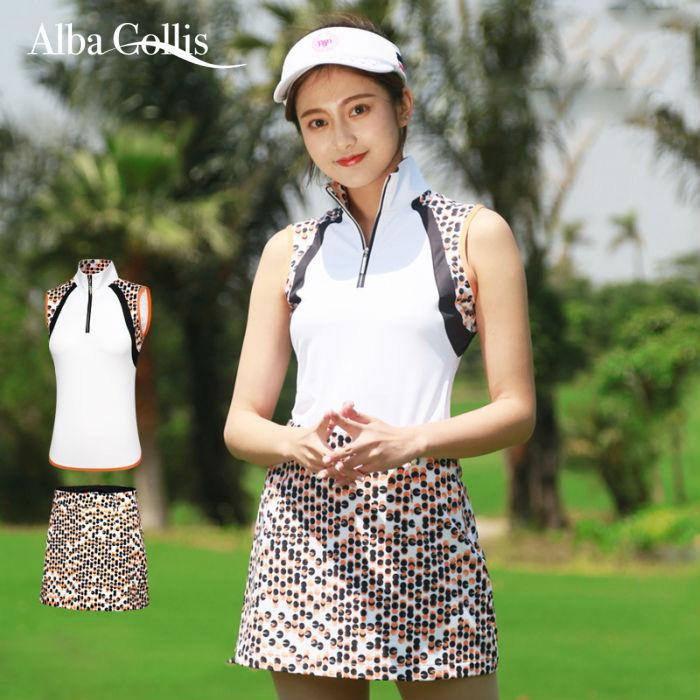 ゴルフウェア ノースリーブ スカート レディース 可愛い 綺麗 ホワイト 白  レディース ゴルフグッズ レディースゴルフウェア ゴルフ用品 可愛い 上下セット インナーパンツ付き
