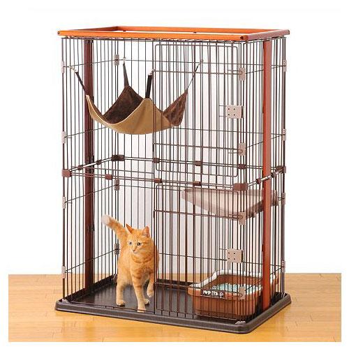 ウッドワンサークル キャット 3段タイプ【猫用室内サークル】○