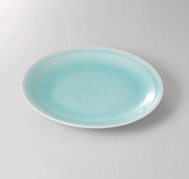 青白磁友禅彫丸10.0皿 美濃焼