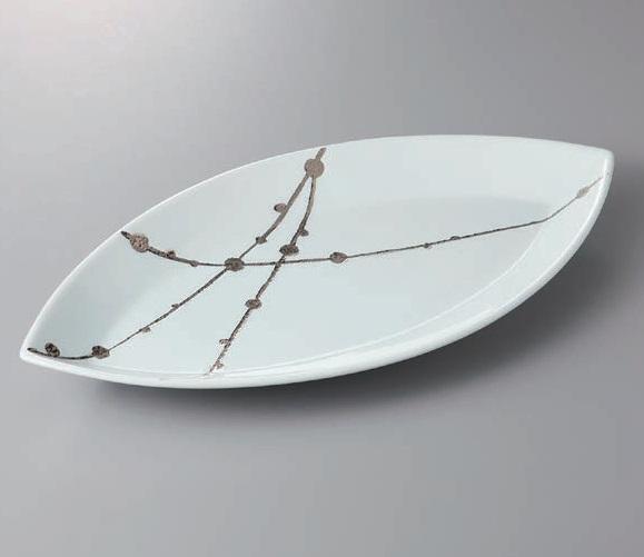 有田焼 錦白プラチナ玉すだれリーフ40cm皿