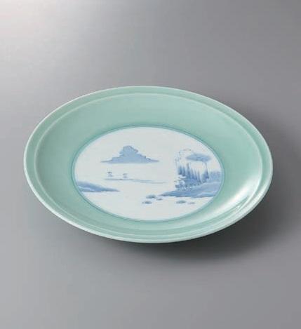 陶器 陶磁器 食器 和食器 大皿 有田焼 青磁内山水高台15号皿