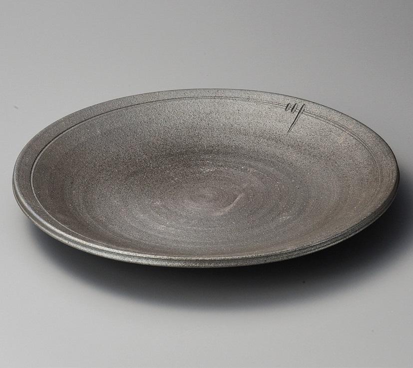 炭化ロクロ目13.0大皿 美濃焼