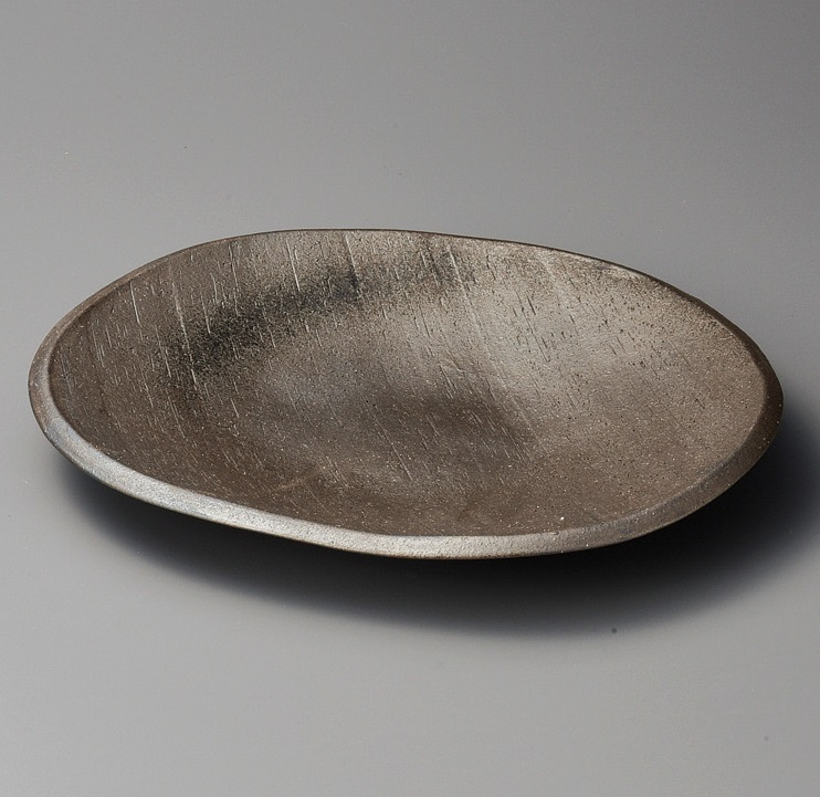 黒銀彩13.0変形大皿 美濃焼