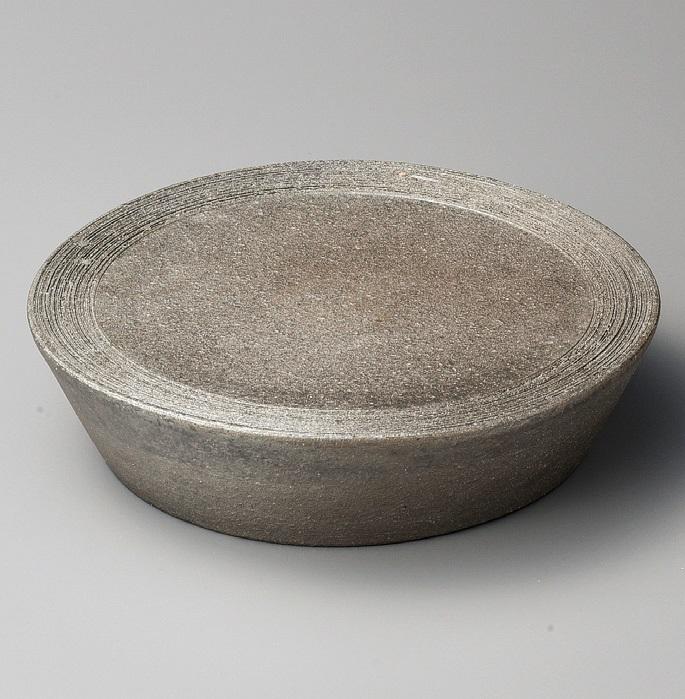 黒窯変櫛目10.0台皿 美濃焼