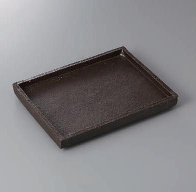 長角皿 黒陶 切立長角皿(手造) 美濃焼