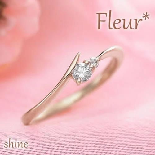 ピンキーリング ゴールド 10K K10 Fleur shine 260985 K10YG ダイヤモンド 関節リング ミディリング ファランジリング レディース リング イエローゴールド 重ねづけ シンプル 華奢 かわいい 指輪 0号 1号 2号 3号 4号 5号 6号 7号 偶数号 送料無料