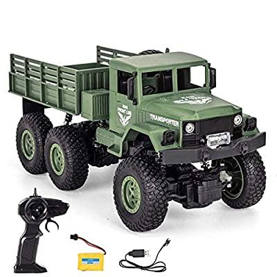 JYKC0001 : WEECOC RCカー 軍用トラック 2.4G 6輪リモコンオフロード車 4輪駆動シミュレーションカーモデル 子供贈り物 ギフト知育玩具 (緑)