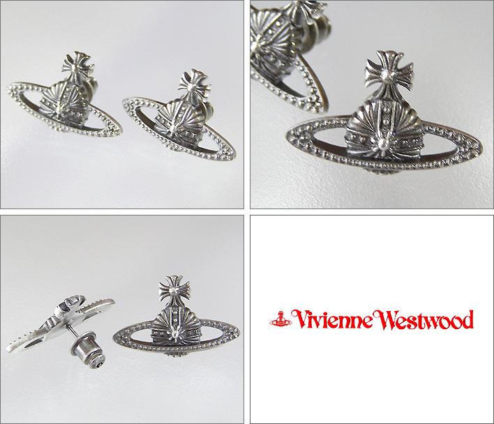 ヴィヴィアンウエストウッドピアスヴィヴィアンオーナメンタルミニバスレリーフピアスアンティークシルバー VivienneWestwood