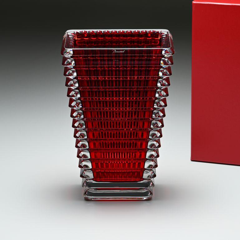 バカラ Baccarat アイ EYE スクエア ベース 花瓶 レッド S 20cm 2802298