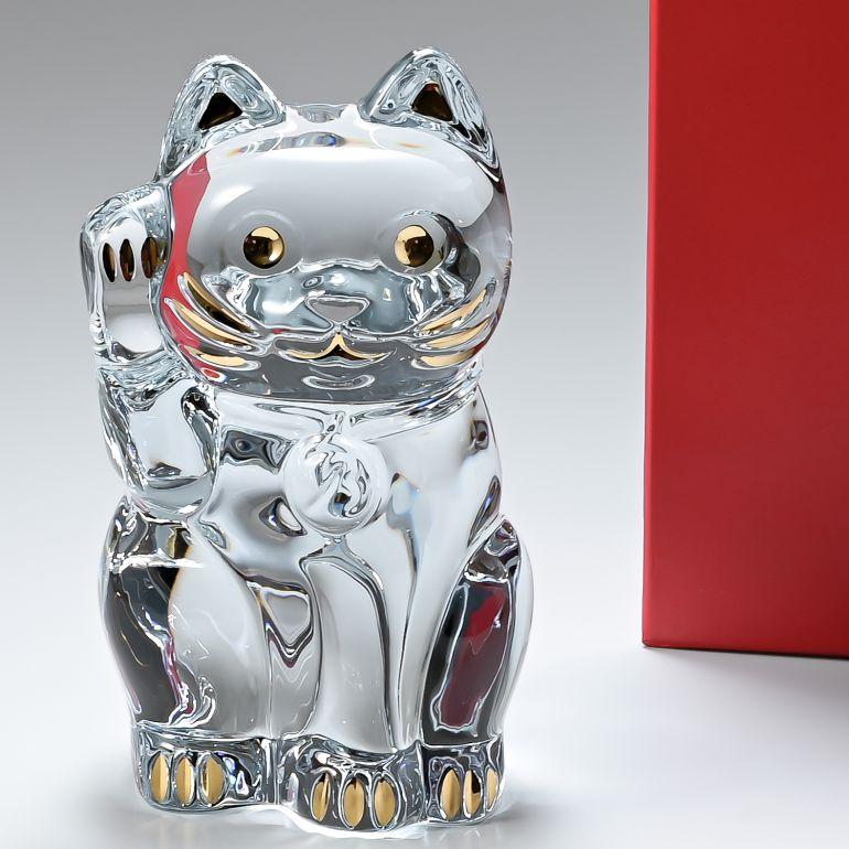 バカラ Baccarat フィギュア 招き猫 まねき猫 縁起物 高さ24cm インテリア 置物 オブジェ 2803413