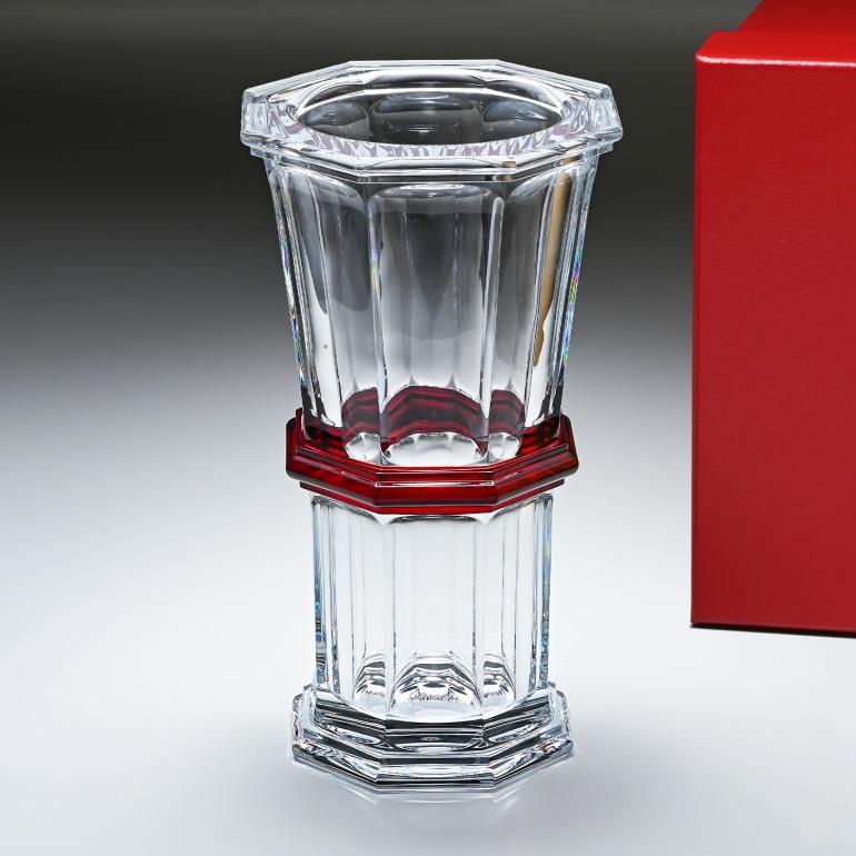 バカラ Baccarat ベース 花瓶 アルクール HARCOURT ストレートベース クリア&レッド 2809144 父の日