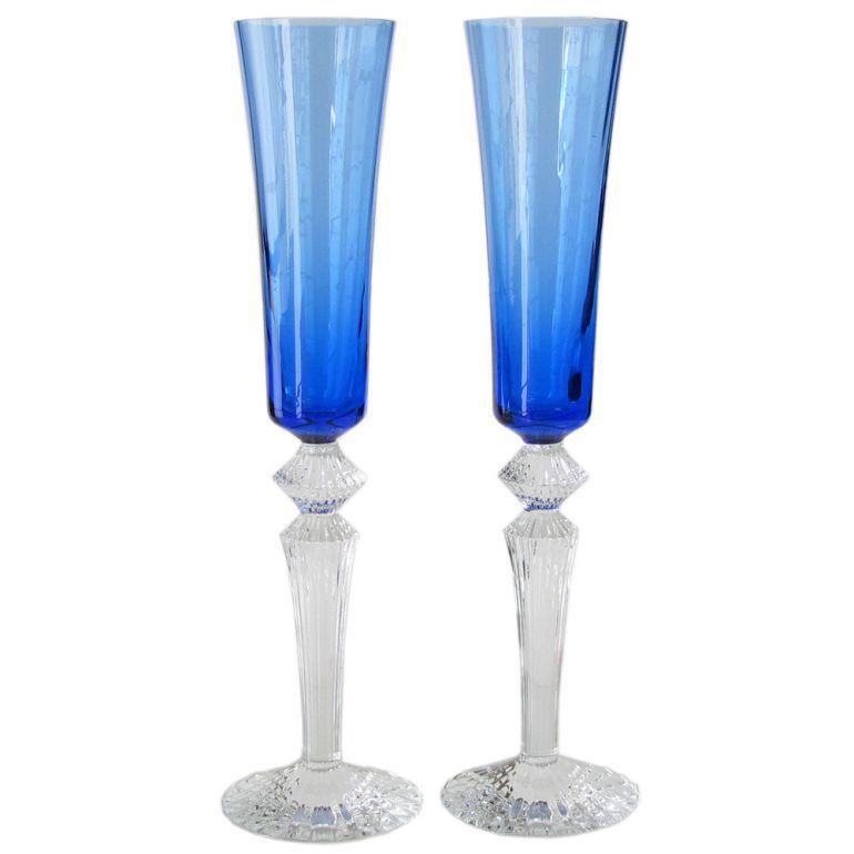 バカラ Baccarat グラス ペア ミルニュイ フルーティッシモ MILLE NUITS シャンパングラス ブルー 29.5cm 2811585