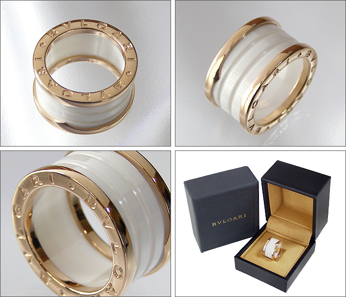 Bulgari Ring Bvlgari ビーゼロワン B Zero1 4band Pink White Ceramic An855564