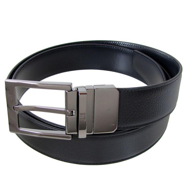 ダンヒル ベルト メンズ 幅3.5cm リバーシブル 回転式バックル ストリンガシステム対応 ブラック ネイビー 18F4T16GR001 (HPC128A)