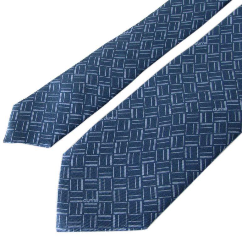 ダンヒル ネクタイ メンズ ブルー 大剣幅8cm シルク100% 19FPTP1XX451R MADE IN ITALY バレンタインデー