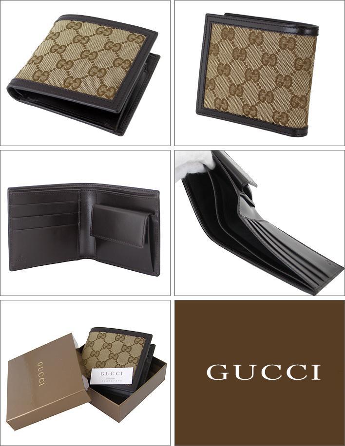ef18acf531963b alevel: Gucci wallet GG canvas GG fabric beige / dark brown mens ...