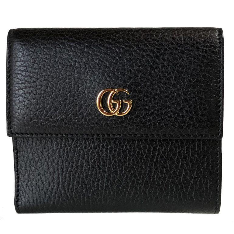 グッチ 二つ折り財布 レディース プチ マーモント レザー フレンチフラップウォレット ブラック 456122 CAO0G 1000 母の日