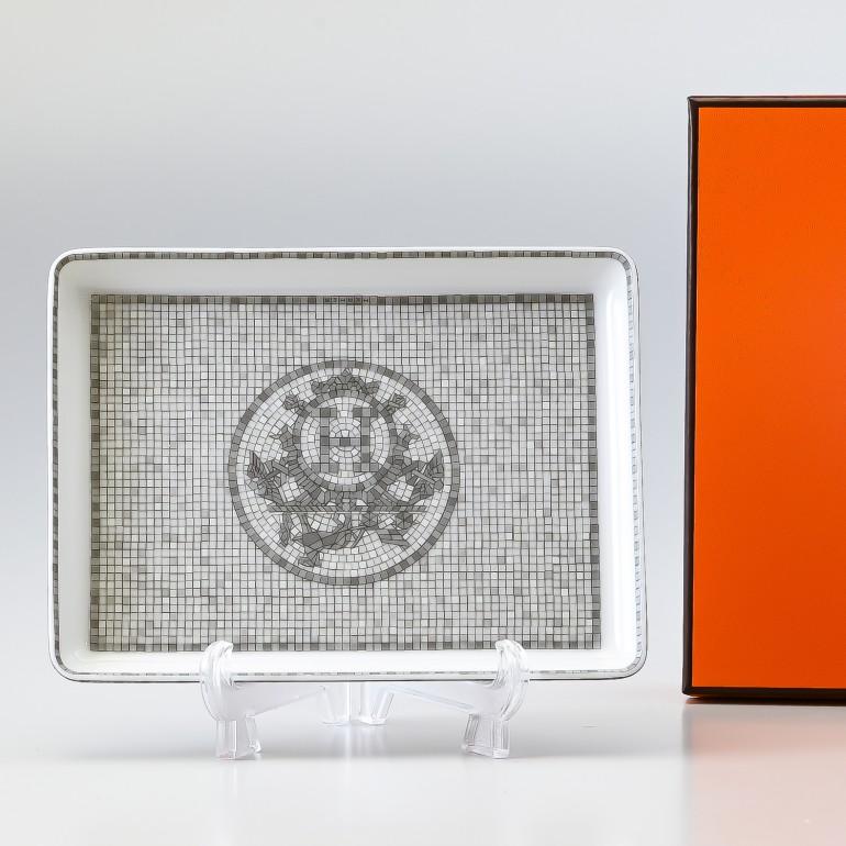 エルメス HERMES モザイク ヴァンキャトル プラチナ 035089P 16cm×12cm スクエアプレート 寿司 すしプレート 母の日