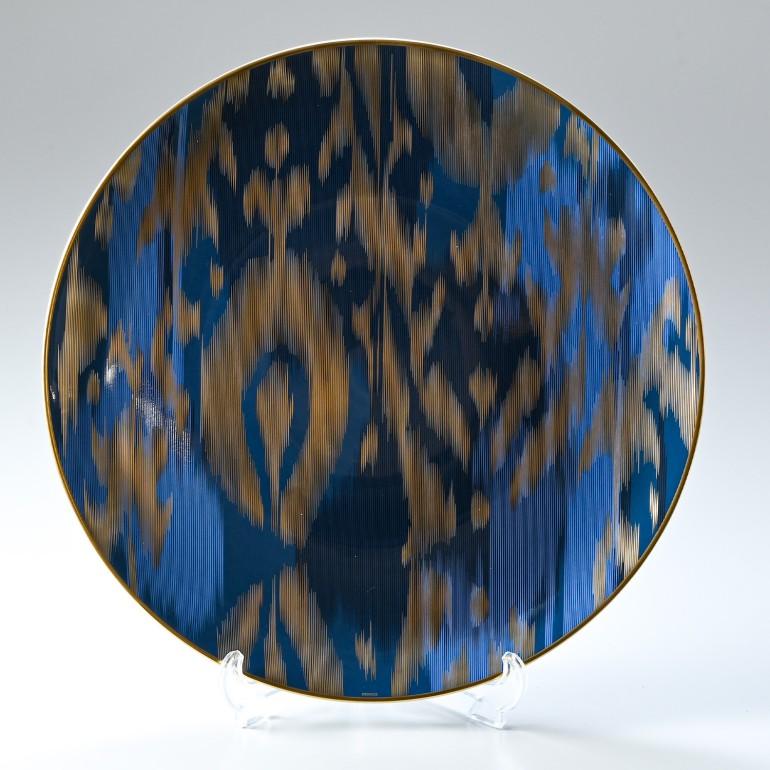 エルメス HERMES ヴォヤージュ アン イカット サフィール サファイア 036063p 33cm 大皿 プレート