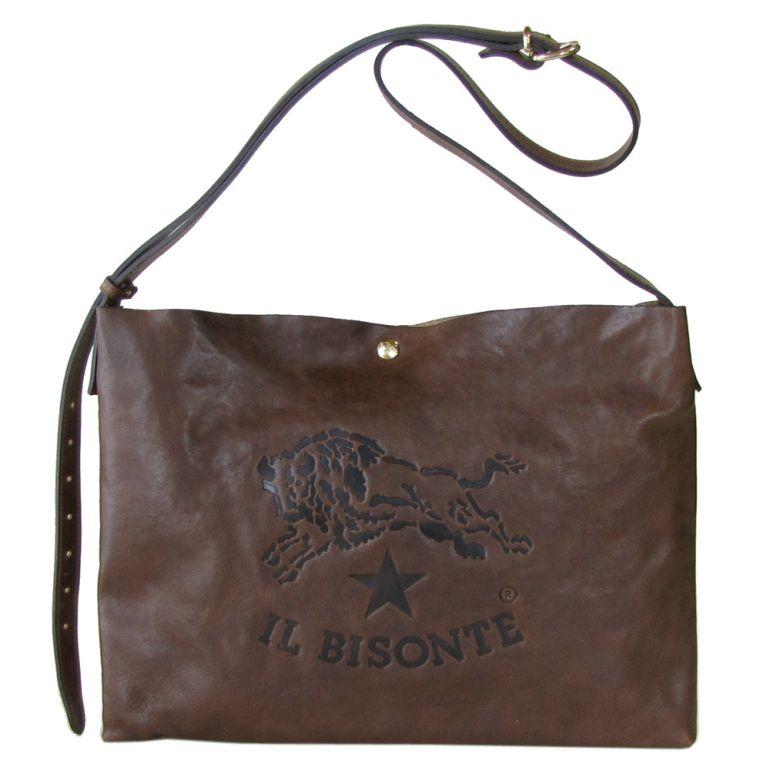 イルビゾンテ IL BISONTE ビッグロゴ A4 ショルダーバッグ バケッタオールドレザー サコッシュ ダークブラウン A2590 PO 599