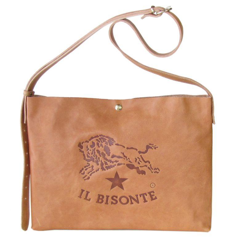イルビゾンテ IL BISONTE ビッグロゴ A4 ショルダーバッグ バケッタオールドレザー サコッシュ ナチュラル ヌメ A2590 PO 681