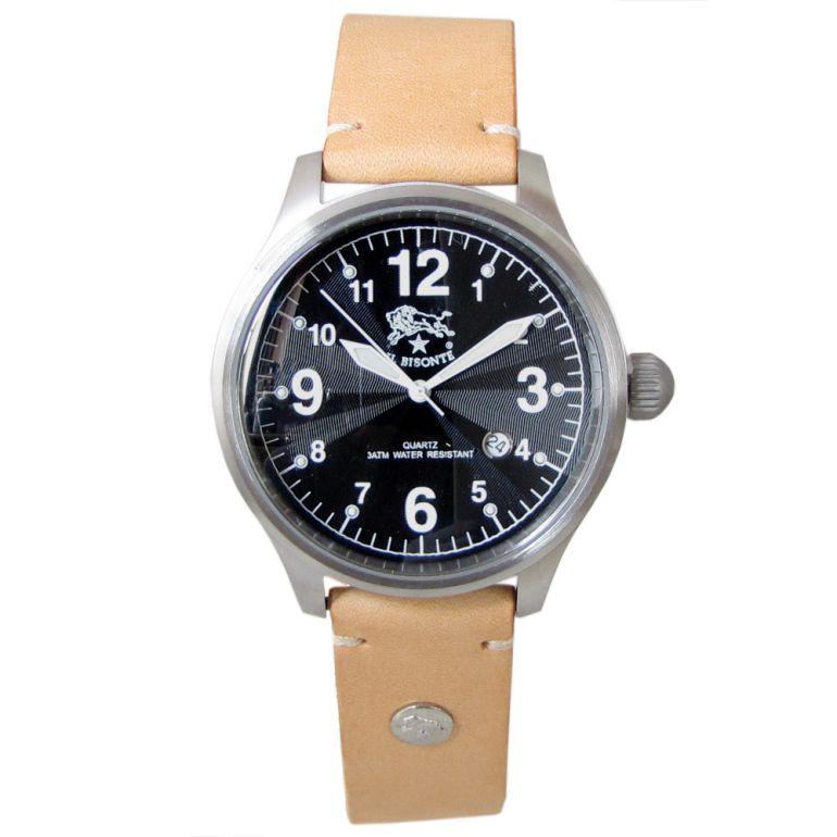 イルビゾンテ IL BISONTE 腕時計 カウハイドレザー ブラック文字盤 レザーバンド ナチュラル ヌメ H0252 P2 120N