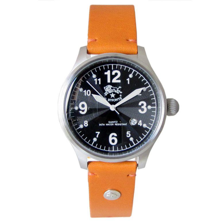 イルビゾンテ IL BISONTE 腕時計 カウハイドレザー ブラック文字盤 レザーバンド オレンジ H0252 P2 166N